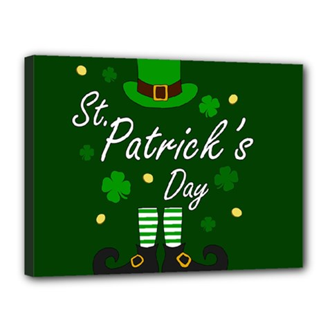 St Patricks Leprechaun Canvas 16  X 12  by Valentinaart