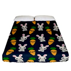Easter Kawaii Pattern Fitted Sheet (queen Size) by Valentinaart