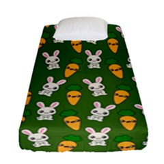 Easter Kawaii Pattern Fitted Sheet (single Size) by Valentinaart