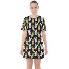 Easter Kawaii Pattern Sixties Short Sleeve Mini Dress