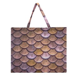 Copper Mermaid Scale Zipper Large Tote Bag by snowwhitegirl