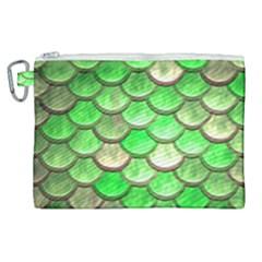 Green Mermaid Scale Canvas Cosmetic Bag (xl) by snowwhitegirl