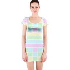 Geometric Pastel Design Baby Pale Short Sleeve Bodycon Dress