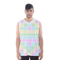 Geometric Pastel Design Baby Pale Men s Basketball Tank Top