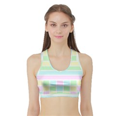Geometric Pastel Design Baby Pale Sports Bra With Border