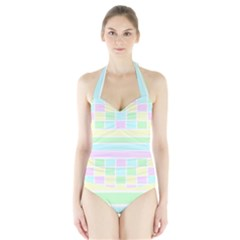 Geometric Pastel Design Baby Pale Halter Swimsuit
