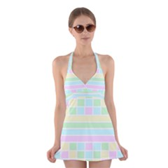Geometric Pastel Design Baby Pale Halter Dress Swimsuit