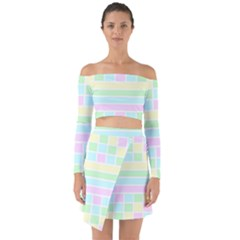 Geometric Pastel Design Baby Pale Off Shoulder Top With Skirt Set