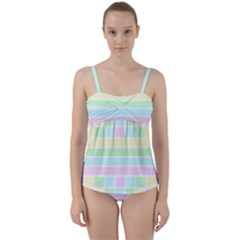 Geometric Pastel Design Baby Pale Twist Front Tankini Set