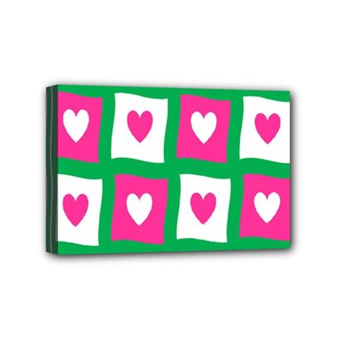 Pink Hearts Valentine Love Checks Mini Canvas 6  X 4