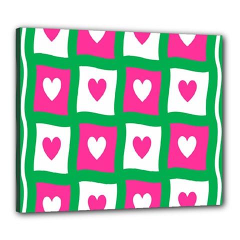 Pink Hearts Valentine Love Checks Canvas 24  X 20