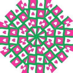 Pink Hearts Valentine Love Checks Hook Handle Umbrellas (large)