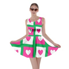 Pink Hearts Valentine Love Checks Skater Dress