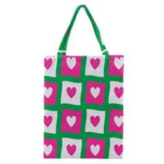Pink Hearts Valentine Love Checks Classic Tote Bag by Nexatart