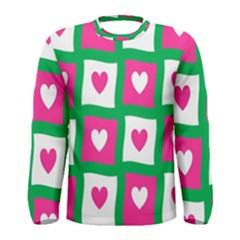 Pink Hearts Valentine Love Checks Men s Long Sleeve Tee