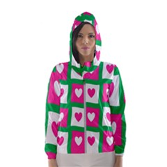 Pink Hearts Valentine Love Checks Hooded Wind Breaker (women)