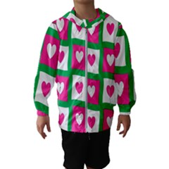 Pink Hearts Valentine Love Checks Hooded Wind Breaker (kids)