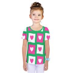 Pink Hearts Valentine Love Checks Kids  One Piece Tee