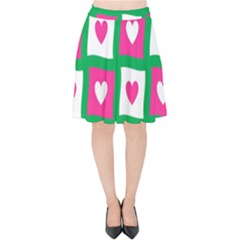 Pink Hearts Valentine Love Checks Velvet High Waist Skirt by Nexatart