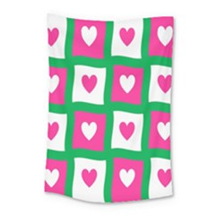 Pink Hearts Valentine Love Checks Small Tapestry