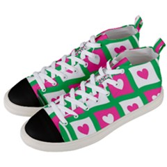 Pink Hearts Valentine Love Checks Men s Mid Top Canvas Sneakers by Nexatart
