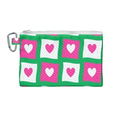 Pink Hearts Valentine Love Checks Canvas Cosmetic Bag (medium) by Nexatart