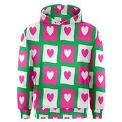 Pink Hearts Valentine Love Checks Men s Overhead Hoodie