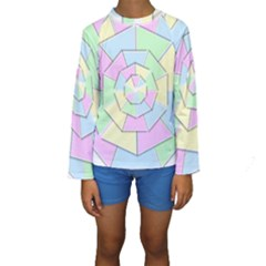 Color Wheel 3d Pastels Pale Pink Kids  Long Sleeve Swimwear by Nexatart