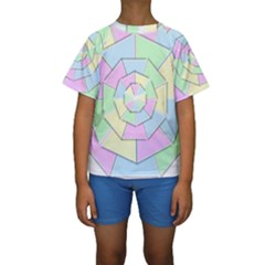 Color Wheel 3d Pastels Pale Pink Kids  Short Sleeve Swimwear