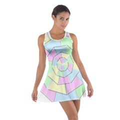 Color Wheel 3d Pastels Pale Pink Cotton Racerback Dress
