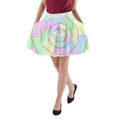 Color Wheel 3d Pastels Pale Pink A Line Pocket Skirt