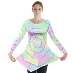 Color Wheel 3d Pastels Pale Pink Long Sleeve Tunic