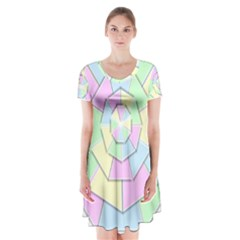 Color Wheel 3d Pastels Pale Pink Short Sleeve V Neck Flare Dress