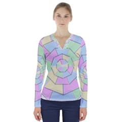 Color Wheel 3d Pastels Pale Pink V Neck Long Sleeve Top