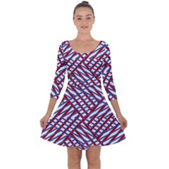 Abstract Chaos Confusion Quarter Sleeve Skater Dress