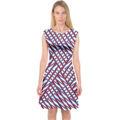 Abstract Chaos Confusion Capsleeve Midi Dress