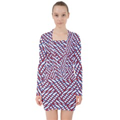 Abstract Chaos Confusion V Neck Bodycon Long Sleeve Dress
