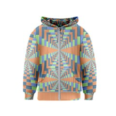 Fabric 3d Color Blocking Depth Kids  Zipper Hoodie