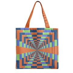 Fabric 3d Color Blocking Depth Zipper Grocery Tote Bag by Nexatart