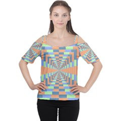 Fabric 3d Color Blocking Depth Cutout Shoulder Tee