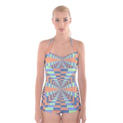 Fabric 3d Color Blocking Depth Boyleg Halter Swimsuit