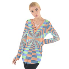 Fabric 3d Color Blocking Depth Tie Up Tee