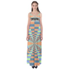Fabric 3d Color Blocking Depth Empire Waist Maxi Dress