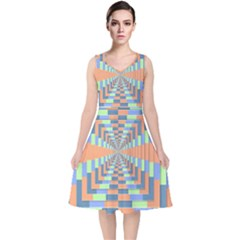 Fabric 3d Color Blocking Depth V Neck Midi Sleeveless Dress