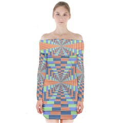 Fabric 3d Color Blocking Depth Long Sleeve Off Shoulder Dress