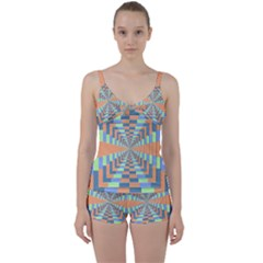 Fabric 3d Color Blocking Depth Tie Front Two Piece Tankini