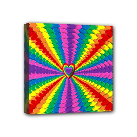 Rainbow Hearts 3d Depth Radiating Mini Canvas 4  X 4