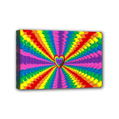 Rainbow Hearts 3d Depth Radiating Mini Canvas 6  X 4