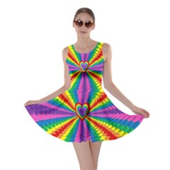 Rainbow Hearts 3d Depth Radiating Skater Dress