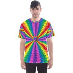 Rainbow Hearts 3d Depth Radiating Men s Sports Mesh Tee